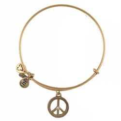 Alex and Ani World Peace with Crystal in Rafaelian Gold Finish