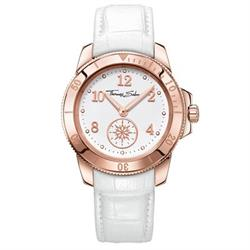 Ladies White Leather Rose Gold Watch