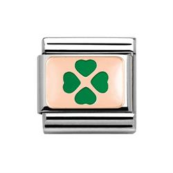 Rose Gold & Green Clover