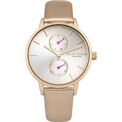 Daisy Dixon Mia Rose Gold Pearl Leather Watch