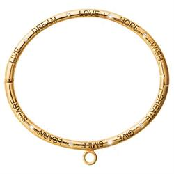 Gold Good Vibes Charm Bangle Large