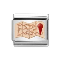 Buy Nomination Classic Rose Gold Symbols Map with Red Enamel Charm