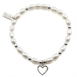 Pearl Open Heart Mini Bracelet