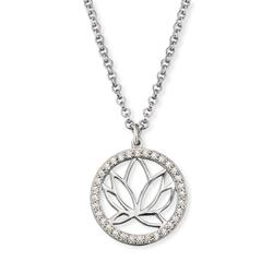 Silver CZ Lotus Disc Necklace