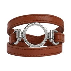 Brown Leather Wrap Bracelet with Silver Small Carrier