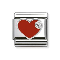 Red Enamel CZ Heart