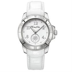 Ladies White Leather Stainless Steel Watch
