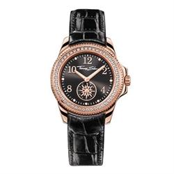 Ladies Rose Gold Black Leather Watch