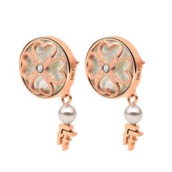 Folli Follie Heart4Heart Mother of Pearl Heart Earrings