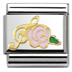 Gold Pink Musical Rose Charm