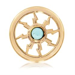 Gold Turquoise Thunder Coin 23mm