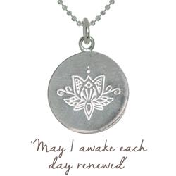 Buy Mantra Lotus Renewed Necklace in Silver