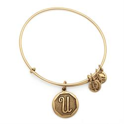 U Initial Bangle in Rafaelian Gold