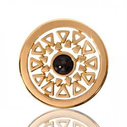 Yellow Gold Beauty Onyx Coin 23mm
