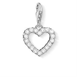 Sterling Silver CZ Open Heart Charm