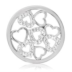 Silver Sparkling Hearts Coin 33mm