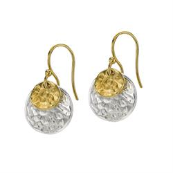 Sterling Silver and Gold Vermeil Double Disc Earrings