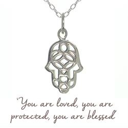 Buy Mantra Hamsa Hand Necklace in Silver