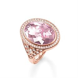 Eternity of Love Rose Quartz, Rose Gold Cocktail Ring, Size 54