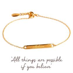 Believe Mantra Bar Bracelet in Gold