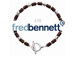 Fred Bennett Silver and Wood T-Bar Bracelet